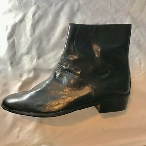 Brand New Stacy Adams Mens Ankle Boots Black Leather Zip Up Boots US Size 9 M