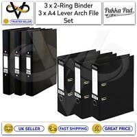 Pukka 3 x Black 2-Ring Binder & 3 x Black Lever Arch File Presentation Folders