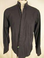 Pal Zileri Mens Charcoal Cotton Tuxedo Shirt 43 17-35 Italy Made