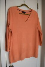 Tommy Hilfiger Plus size XXL Pullover Sweater Peach V-Neck 3/4 sleeves