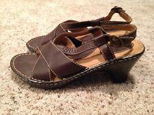 Womens b.o.c. Born Brown Leather Heeled Sandal Shoe Size 9 Medium 40.5 bc6080