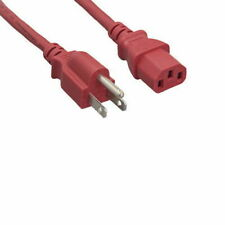 Kentek Red 2 Ft US 3 Pin AC Power Cord Cable NEMA5-15P/IEC320 C13 18AWG 10A 125V