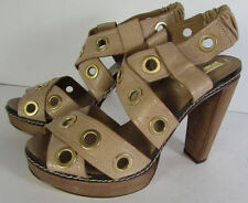 High (3 in. to 4.5 in.) Leather Geometric Heels for Women
