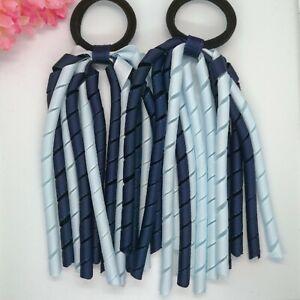 2x Korker Girls Elastic Hair Bobbles   Ribbon corker School Navy and Blue