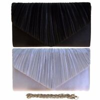 PLEATED SATIN LADIES PARTY PROM BRIDAL EVENING CLUTCH HAND BAG PURSE HANDBAG