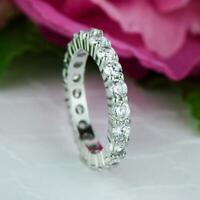 2.00 CT Round Cut Diamond Beautiful Full Eternity Wedding Band 14k White Gold GP