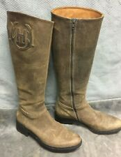 HUNTER WOMEN'S BROWN LEATHER ZIP TALL RIDING BOOTS  US 8