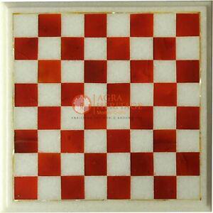 Marble Chess Set Board Handmade Mosaic Carnelian Inlaid Stone Art Best Gift Her