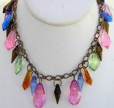"Vintage Chunky Lucite Dangle Charm Necklace Retro Mod Multi Color 24"""