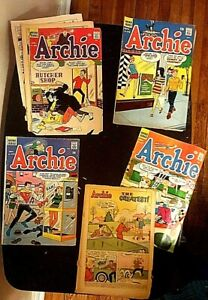 Lot 5 ARCHIE 12 cent Comics 1966-1968 #163-168-176-177-197