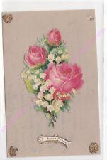 CPA CELLULOÏD DECOUPIS Bonne Année bouquet de fleurs rose et muguet