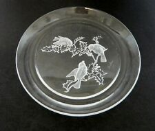 Boehm HOYA Clear Crystal Frosted Chickadees on Plate with Holly Leaves Signed