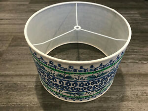 Lilly Pulitzer Pottery Barn Drum Lamp Shade Blue Shell of a Time Straight Side