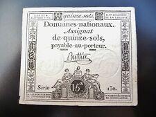 assignat de 15 sols  janvier 1792  série 130