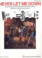 """DAVID BOWIE-NEVER LET ME DOWN"" SHEET MUSIC-PIANO/VOCAL/GUITAR-1987-RARE-NEW!!"