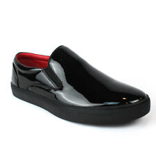 Santino Men's Black Patent Leather Tuxedo Dress Sneakers Red Insole Slip On 442