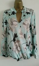 NEW M&Co Tiffany Blue Silver Grey Drape Front Floral Top Shirt Blouse 8-20