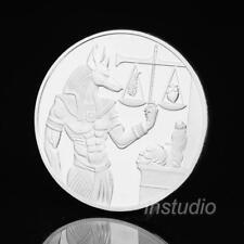 Gott des Todes ägyptische Mumifizierung Anubis Münze Abzeichen Sammler Silber^
