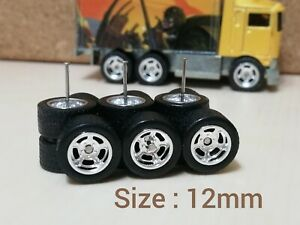 1/64 SCALE CUSTOM REAL RIDERS WHEELS RUBBER TIRES 3 SETS HOT WHEELS HIWAY HAULER