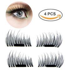 Magnetic 3D Natural Reusable False Fake Eyelashes 4 Piece Box No Glue Extensions
