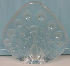 VINTAGE LARGE MATS JONASSON GLASS PEACOCK PAPERWEIGHT