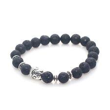 Buddha Bracelet 8mm 18cm Beads Black Lava Stone Gemstone Silver