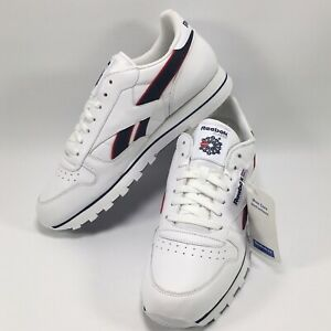 Reebok Classic Stripe Snr White Navy Red Trainers Running Shoe Men's UK Size 10
