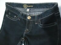 BEBE flare leg jeans dark wash low rise stretch size 26 RN#86017 EUC!
