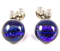 "DICHROIC Post EARRINGS Tiny 1/4"" 10mm Cobalt BLUE Striped Fused GLASS STUD Dots"