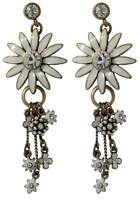 NEW PILGRIM GOLD EARRINGS WHITE ENAMEL DAISY FLOWERS CRYSTALS AB DROP DANGLE RR