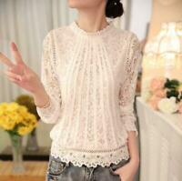 Elegent Ladies White Lace T-Shirts Tops Stand Collar Summer hollow Out Blouse