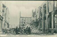 Ypres Belgium WW1 Ruins Vintage Car People Rue Beurre Musee  AK.1751