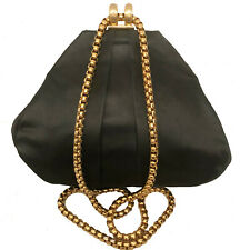 VINTAGE HENRI BENDEL BLACK SATIN EVENING BAG / GOLD CHAIN