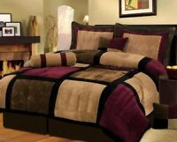 7 Piece Burgundy Brown Black Bed in a Bag Micro Suede FULL Comforter Set