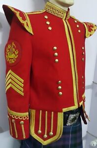 Pipe Major Doublet Red Blazer Wool Gold Braid And Trim Fancy Collar