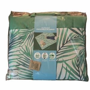 """BHF Pendleton Outdoor Packable Blanket 60""""x72"""" Large Outside Pockets Green Palms"""