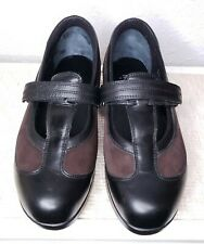 Drew Last Black Leather Brown Suede T Strap Mary Jane Comfort Shoes Womens 9 M