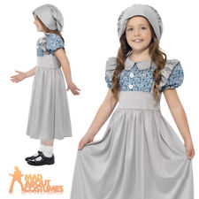 Smiffys Children's Victorian School Girl Costume Dress & Hat Colour Grey Size S 27532