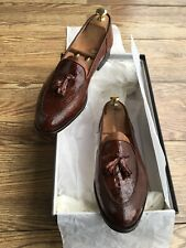 $1800.00 !! GUCCI MEN ALLIGATOR / CROCODILE LEATHER EXCLUSIVE LOAFERS SIZE 42 D