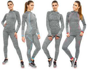 Womens 2Pcs Sport Set Long Sleeve Hoddie Full Length Leggings Gym Running FG3881