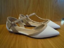 Carvela Ladies Shoes Size 4 T Bar Flats Cream Nude Kurt Geiger Pointed Toe Shoe