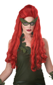 Womens Poison Ivy Long Red Wig Halloween Fancy Dress Costume Accessory