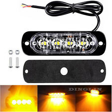 4 LED Amber Car Flash Emergency Beacon Lighting Bar Hazard Strobe Warning Lamps