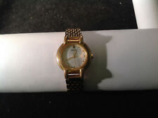 Seiko Round Face Gold Tone Clasp Band Wrist Watch 6.5 inch Long