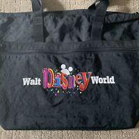 Walt Disney World Black Retro Tote Bag Embroidered Mickey Mouse Ears Large Nylon