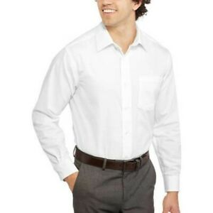 *NWT* George Men's White Classic Fit Long Sleeve Dress Shirt 3XL 19 19.5 / 38/39
