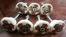 Set of 7 Mexican Porcelain Ceramic Floral Door Cabinet Pull Knobs Made Mexico