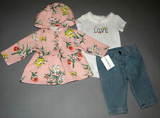 Baby girl clothes, Newborn, Carter's floral hoodie, bodysuit, jeans