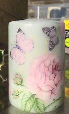 Botanico verde (farfalle e rose) a mano decorato pilastro candela 50hrs 10x6.5