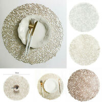 PVC Hollow Round Coaster Pads Insulation Table Placemat Non-slip Mats Home Decor